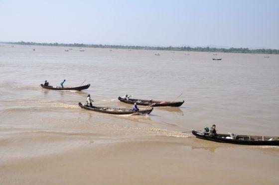 ชาวประมงหาปลากันตั้งแต่เช้าจรดเย็นบริเวณปากแม่น้ำ