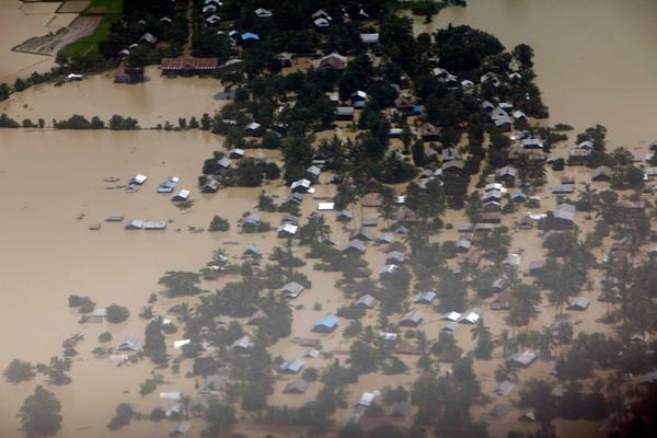 ภาพน้ำท่วมที่เมืองกะเล  เขตสะกาย (จาก DVB)