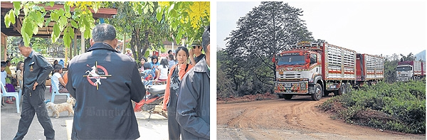 intense discussions: Lt Gen Poramet and his team met with Suraphan Rujichaiwat to negotiate the transport of copper ore from the mine in 18-wheel trucks.